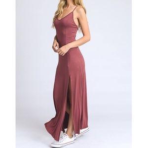 Stacia Mauve Double Front Slit Maxi Dress
